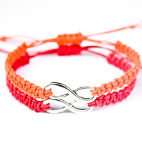 Infinity Friendship Bracelets Orange and Red