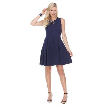 CLEARANCE - Shay Fit/Flair Skater Dress Navy Blue Short Criss-Cross Neckline (Size Small)