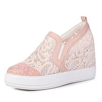 Women's Sequined Round Head Rhinestone Platform Wedges Casual Shoes