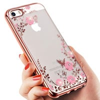 New Elegant Garden Floral Flowers Lace Diamond Funda Capa Soft TPU Phone Cases Cover For iPhone 5 5G 5S 6 6G 6S 6Plus 5.5