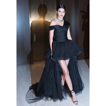 Kendall Jenner Black Tulle High-low Prom Dress Celebrity Dress