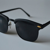 1980s Solid Black Vintage Deadstock Clubmaster Classic Sunglasses A41