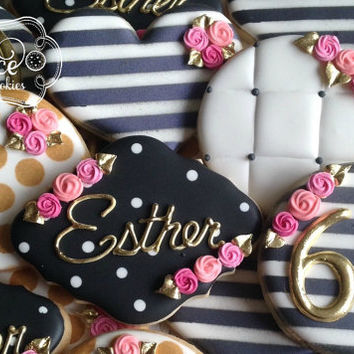 Milestone Birthday Wedding Anniversary Black White Gold Cookies