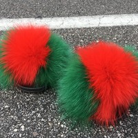 Stay here fox fur slides green fur slippers red fox fur sliders