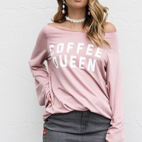 Coffee Queen Pink Graphic Top