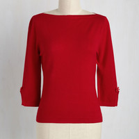 Up to Parisienne Sweater in Red   Mod Retro Vintage Sweaters   ModCloth.com