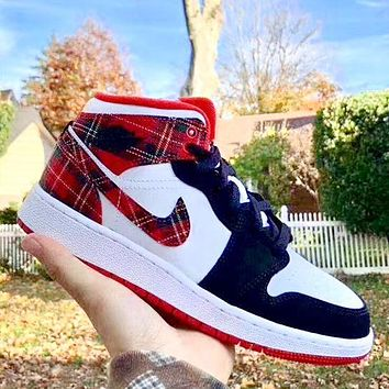 elainse29 NIKE Air Jordan1 MID AJ1 broken Christmas denim lattice Blak red