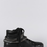 Liliana Perforated Multiple Chains High Top Lace Up Sneaker