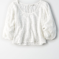 AE Bubble Sleeve Top, White