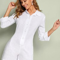 Rolled Cuff Button Front Shirt Romper