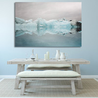 "Extra Large Canvas Print, Blue Wall Decor, Canvas Art, Ready to Hang, Iceland Iceberg, Winter Landscape Photo, Wall Art  ""Under the Glacier"""
