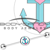 Tattoo Inspired Turquoise Nautical Love Anchor Industrial Barbell | Body Candy Body Jewelry