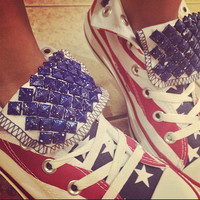 4TH OF JULY Custom Studded Converse Shoes! Studded Stars & Stripes Freedom Edition!