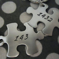 Personalized Puzzle 143 & 1432 Key Chain set - Hand Stamped Stainless Steel