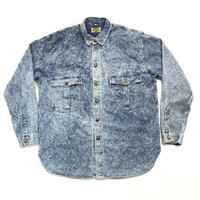 Vintage 90's Armani Jeans Acid Wash Thin Denim, Jean Collared Button Down Shirt - Xlarge