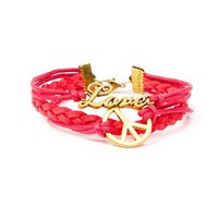 Antique Gold Peace and Love Red Cord with Braided Faux Suede Cuff Bracelet | Claire's
