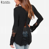 Plus Size 2016 Spring Autumn New Women Shirts O-Neck Long Sleeve Lace Patchwork Casual Slim Blouse Tops blusa feminina 3 Colors