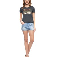 Madison Wash Star Patch Rolled Short by Juicy Couture,