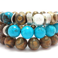 Set of 3 Stretch bead bracelet, chunky beaded bracelet, gemstone, bohemian stack stretchy, stacking, blue turquoise, brown agate, silver