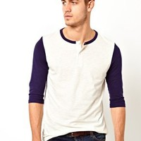 ASOS 3/4 Sleeve T-Shirt With Grandad Neck And Contrast Sleeves at asos.com