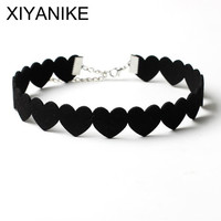 XIYANIKE 2016 Black Lace Choker Necklace Women Velvet Choker Love Heart Necklaces Chocker tattoo collares Collie ras de cou N662
