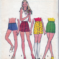 High Waisted or hip hugger shorts 1970s Vintage Sewing pattern Simplicity 5633 Size 12 Waist 26 1/2 UNCUT FF