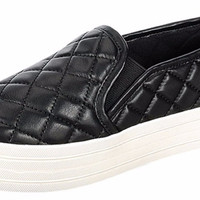 """""""Cyber"""" Quilted Patent Faux Leather Slip on Flat Sneakers - Black"""