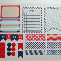 Item #133 4th of July Weekly Layout Planner Stickers for Plum Paper Regular Planners