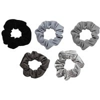 Black & Grey Velvet Scrunchies