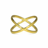 Gold Criss Cross Ring, Gold X Statement Ring, Modern Gold over Sterling Silver