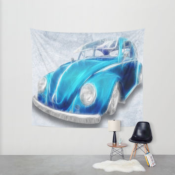 VW Beetle Blue Wall Tapestry by Alice Gosling