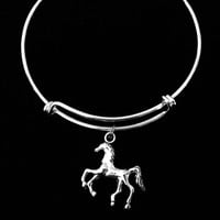 Horse Charm Bracelet Expandable Adjustable Wire Bangle Trendy Handmade Unique Fun Gift