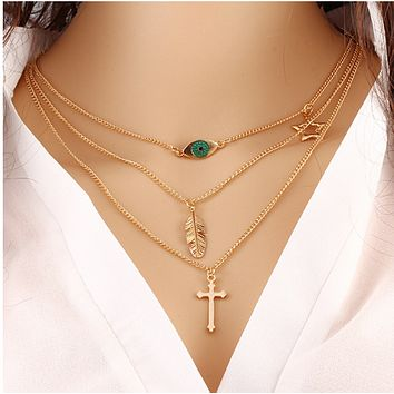 Fashion Eyes Leaves Temperament Wild Necklace Simple Multilayer Metal Clothes Accessories Cross Clavicle Chain