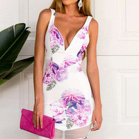 V-Neck Hip Package Dress