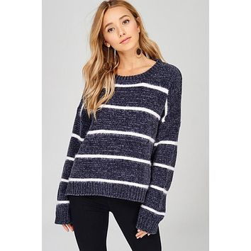 Super Soft Striped Sweater - Charcoal