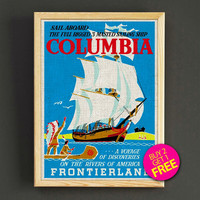 Vintage Frontierland Sail Aboard Columbia Poster Disneyland Attraction Print Home Wall Decor Gift Linen Print - Buy 2 Get 1 FREE - 354s2g