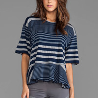 adidas by Stella McCartney Stu Striped Tee in Collegiate Navy/Lead/Core Heather from REVOLVEclothing.com