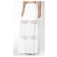 """In Style  """"Lovely in Lace"""" White Lace Paneled Maxi Skirt, Boho, Women's Apparel"""