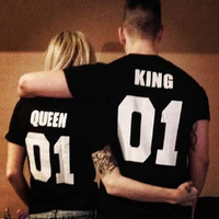 New KING QUEEN 01 Funny Letter Print T-Shirt Women Men Sport Tops Hipster Fashion Clothing Summer Style t shirt tees Plus Size