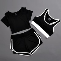 3pcs Sports Suit Women Yoga Set Solid Top and Shorts Breathable Sweat Running Fitness Sport Wear Women Sleeveless Yoga Romper