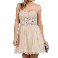 Antonia- Gold/Silver Lace Homecoming Dress