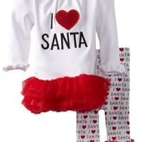 Mud Pie Baby Girls' I Love Santa Tunic and Leggings Set