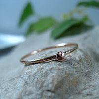 Pink Gold Ring with Pink Gold Dot Stacking Ring