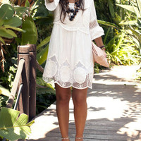 White Round Neck Hollow Lace Loose Dress -SheIn(Sheinside)
