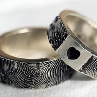 Custom Fingerprint Ring Wedding Band Personalized Sterling Silver Jewelry