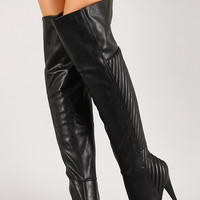 Leatherette Quilted Panel Thigh High Boot