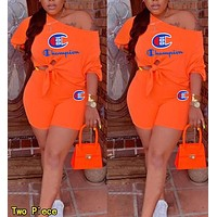 Champion Summer Woman Casual Print Short Sleeve Top Shorts Set Two Piece Orange