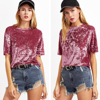 Fashion Casual Solid Color Gold Velvet Round Neck Short Sleeve T-shirt Tops