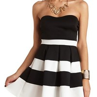 STRAPLESS COLOR BLOCK SKATER DRESS