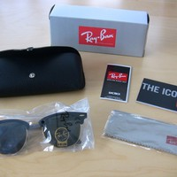 Ray Ban Clubmaster 3016 Sunglasses Black/Gold Frame 51mm - Brand New